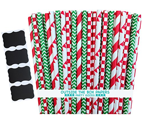 Outside the Box Papers Pizza Night Theme Stripe, Check and Banner Print Paper Drinking Straws 7.75 inches 100 Pack, Red, White, Green - Banner Print