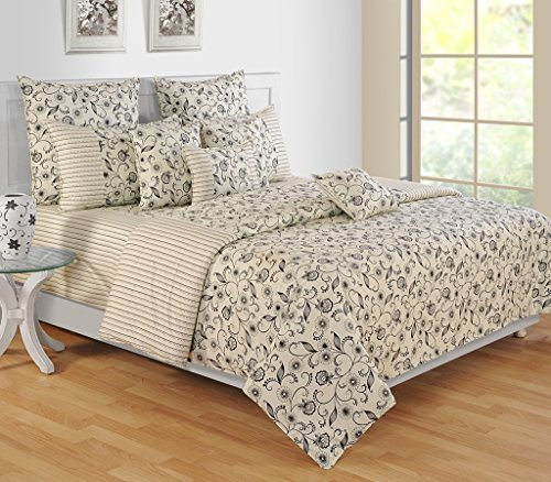Price comparison product image Yuga 3 Piece Set Of Decorative Ivory Queen Size Cotton Bed Sheet With Pillow Covers