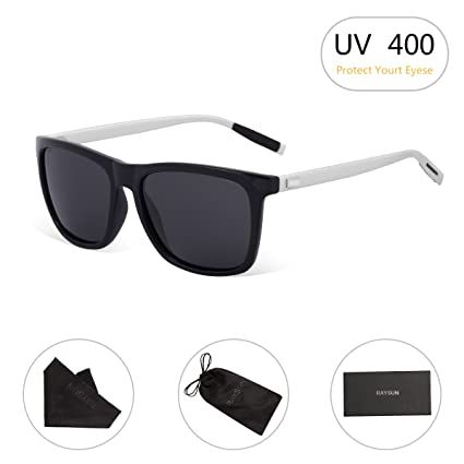 e8462dd10fd RAYSUN Unisex Black Square Polarized Sunglasses Polarized for Men Women