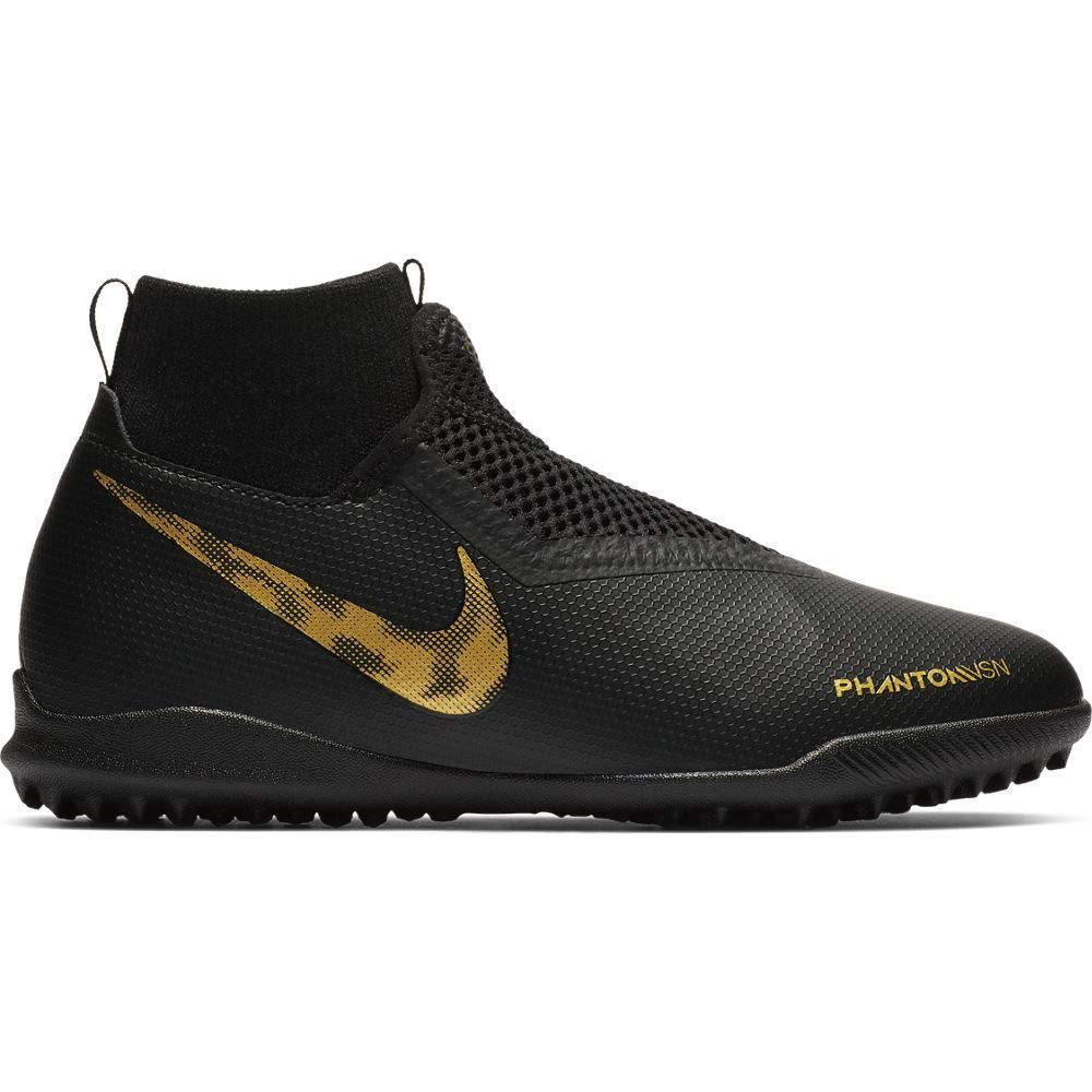 Nike Youth Phantom Vision Academy Dynamic Fit Turf Soccer Cleats-Black-Gold (5.5Y)