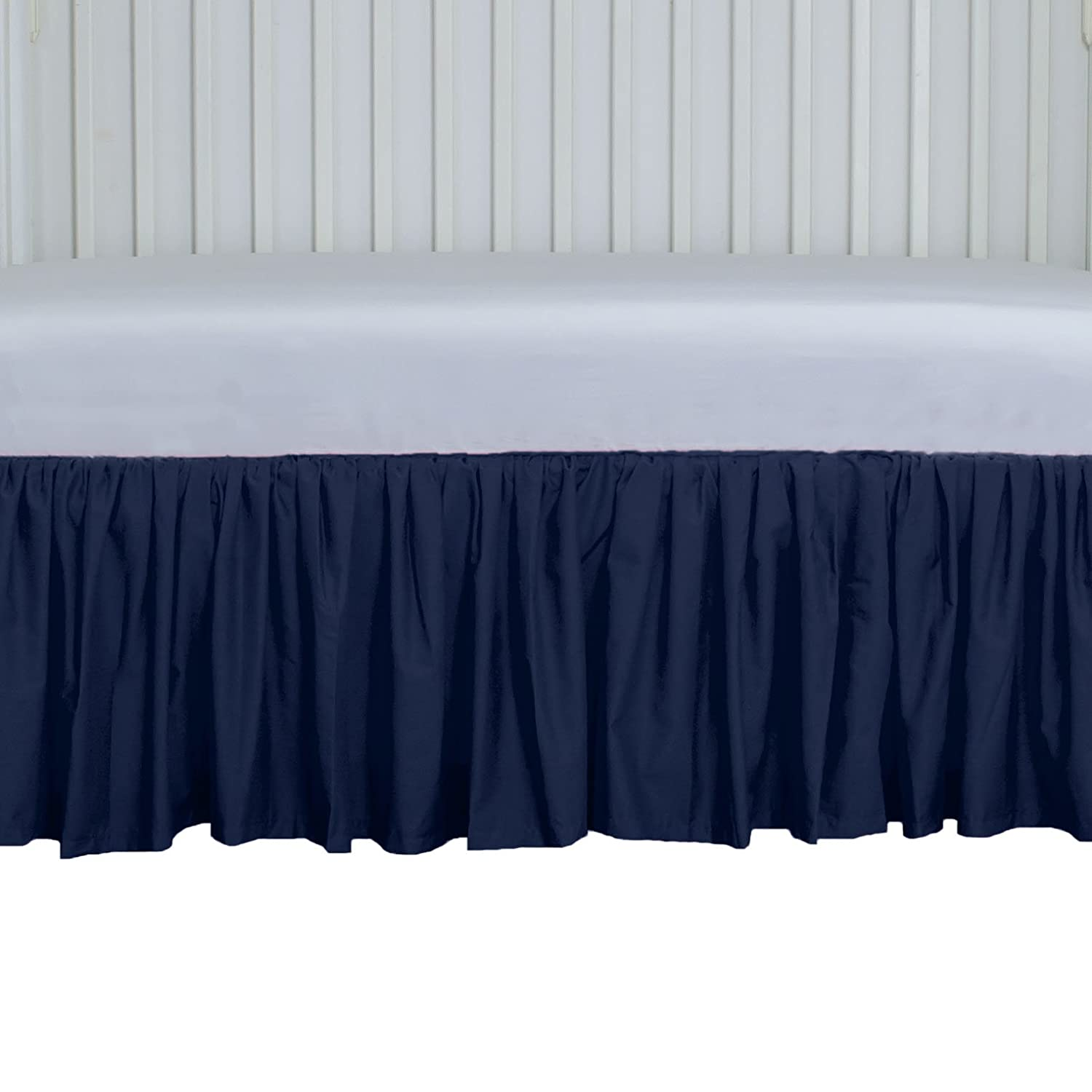 Navy Crib Skirt Gathered 15 inches long 4 sided Allyson Brooke Inc. 352-72105/Crib 15 GTH Navy