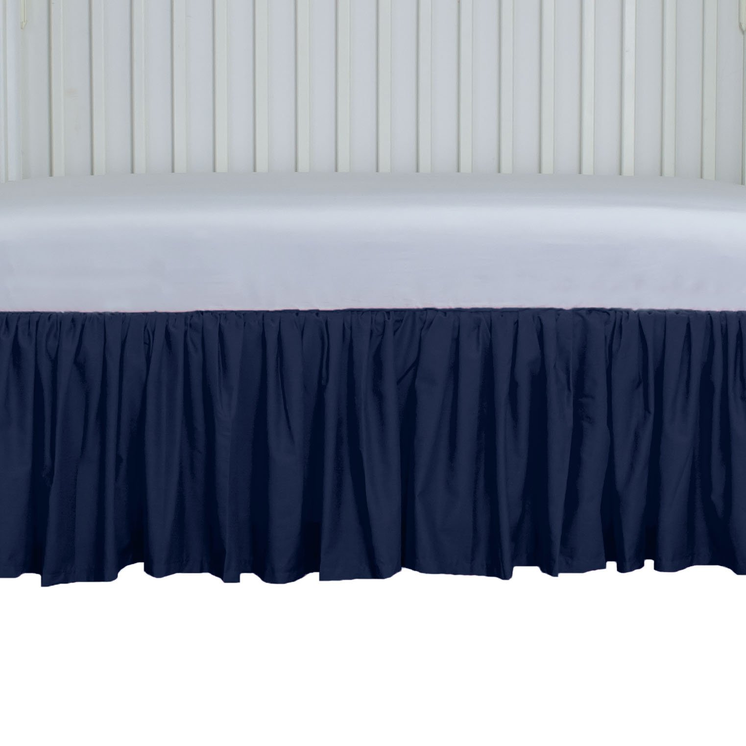 AB Lifestyles Navy Crib Skirt Gathered 15 inches Long 4 Sided by AB Lifestyles