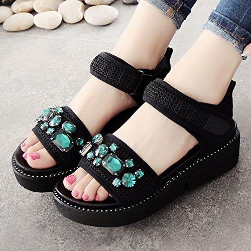 YMFIE Sandalias Planas de Punta Abierta señoras Verano Casual Moda Zapatos Antideslizantes Playa B