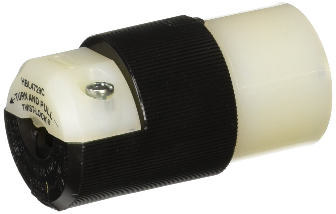 Hubbell HBL4729C Locking Connector, 15 amp, 125V, L5-15R, Black/White(Pack of 10)