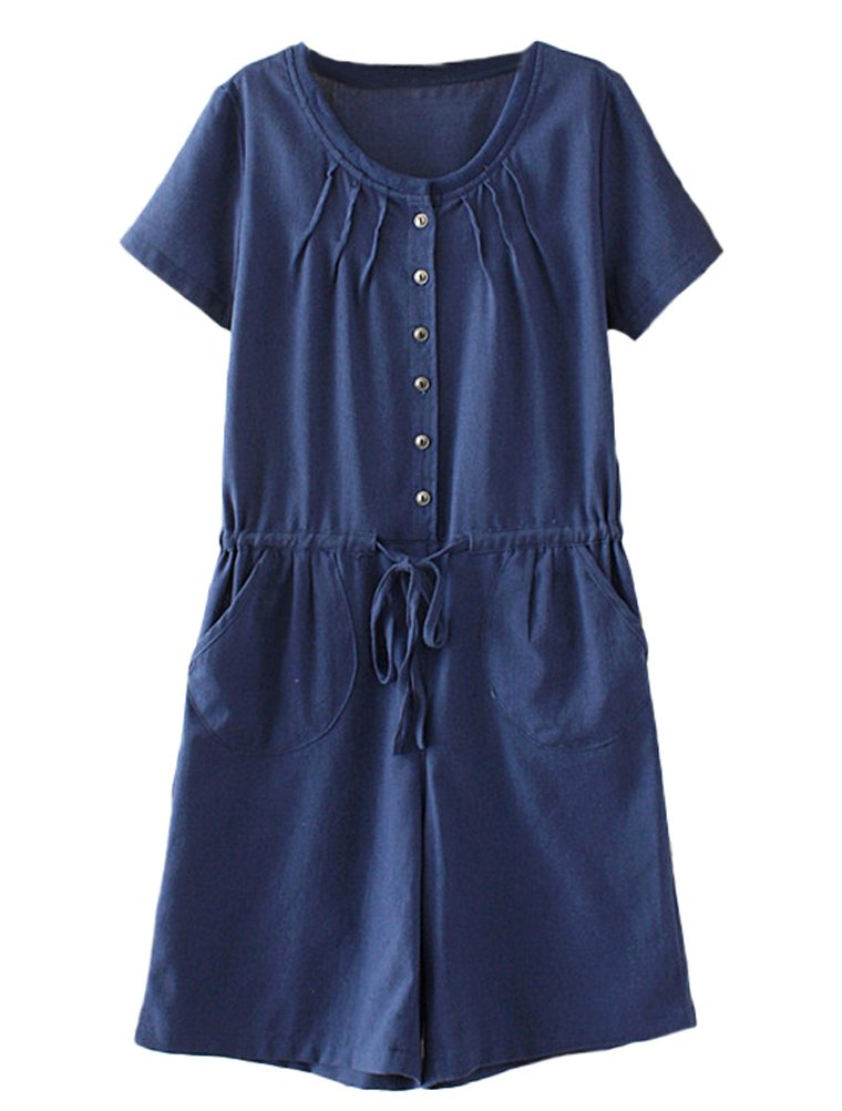 Minibee Women's Summer Short Rompers Casual Pleated Drawstring Waist One Piece Jumpsuit Navy Blue L