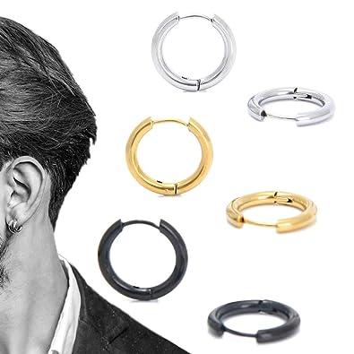 6b7b50ef2 Stainless Steel Huggy Hoop Earrings - Hinged Hoop Huggie Piercing Earrings  Set For Men Women,