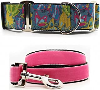 "product image for Diva-Dog 'Butterfly Garden' 2"" Extra Wide Chainless Martingale Dog Collar, Pink Velvet Leash Available - MD, LG, XL"