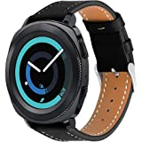 Leather Band for Galaxy Watch Active/Galaxy Watch 42mm / Gear Sport/Gear S2 Classic, Fintie 20mm Quick Release Genuine Leather Replacement Strap Wrist Bands with Adjustable Classic Buckle, Black