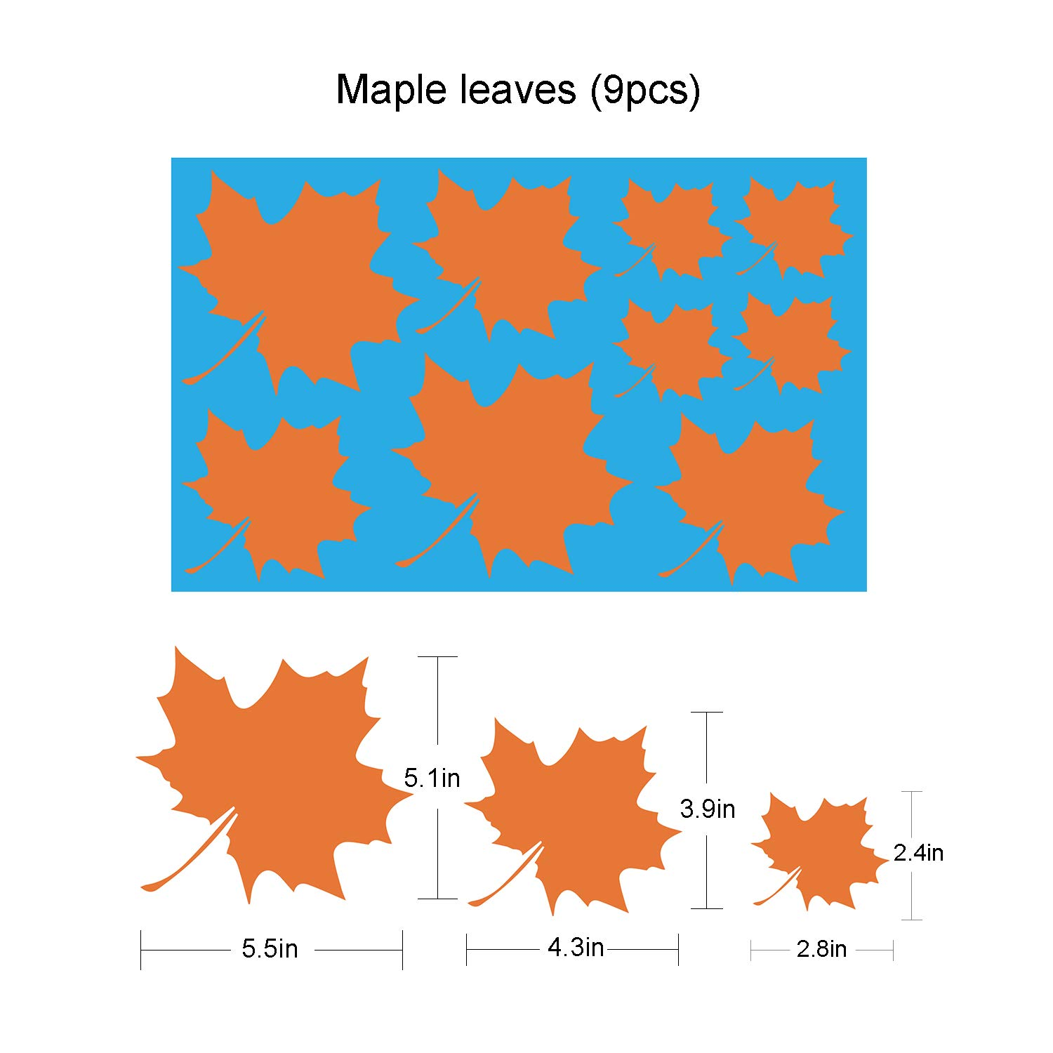6 Sheets Thanksgiving Decorations Tifeson 76PCS Fall Leaves Window Clings Static Decal Stickers Removable Fall Autumn Window Decals