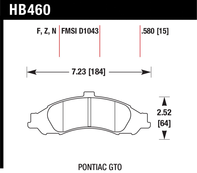 Hawk HP Plus Race Brake Pads Pontiac GTO