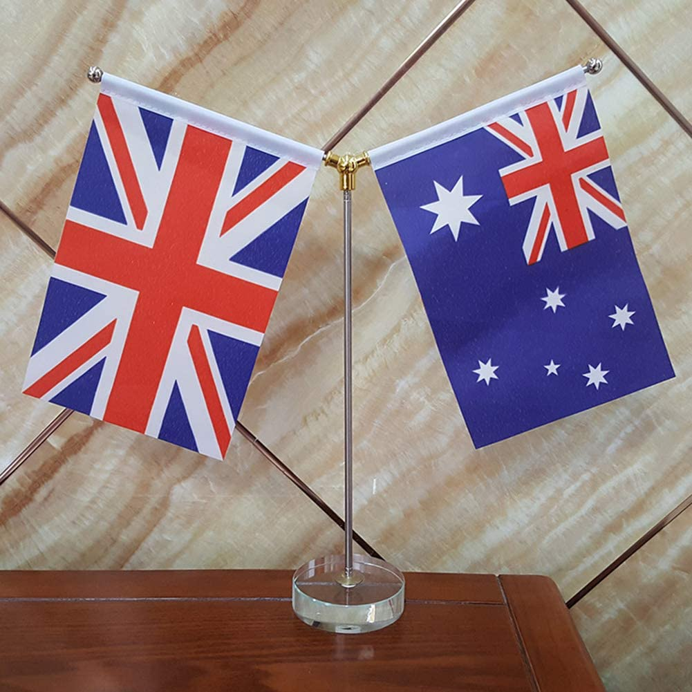 United Kingdom Table Flag 4 x 6 England Desk Flag Table Display with Stainless Steel Sticks /& Crystal Bases British UK