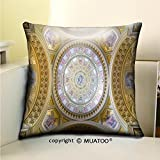 MuaToo Soft Canvas Throw Pillow Covers Cases for Couch Sofa -budapest hungary february interior of the cupola roman catholic church st stephen s Print 16 x 16(40 x 40 cm)