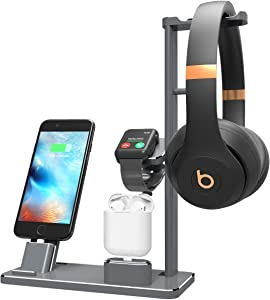 XUNMEJ Watch Stand Station for Apple Watch Charging Dock Station Phone Docking Holder iPhone Station for Apple Watch 4 3 2 1 AirPods Phone Xs X Max XR 7 7plus 6s 6plus iPad(Gray)