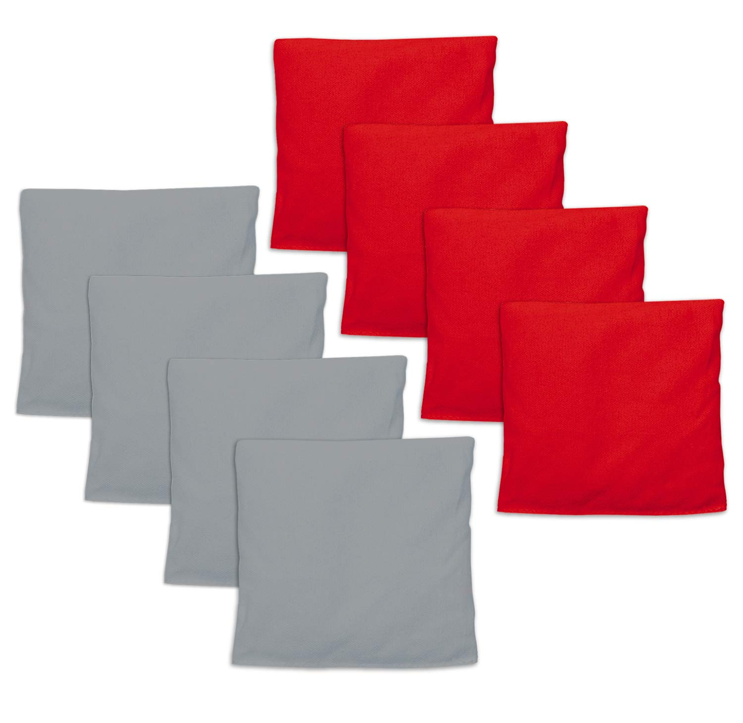 Weatherproof Duck Cloth Cornhole Bags - Set of 8 Red & Gray Bean Bags for Corn Hole Game - Regulation Size & Weight - Made with Corn-Shaped Synthetic Corn