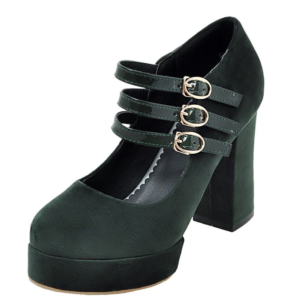 e75eb0c76751b8 YE Damen Mary Janes Pumps Chunky Heels Plateau mit Schnalle Bequem Elegant  Schuhe 35 EU