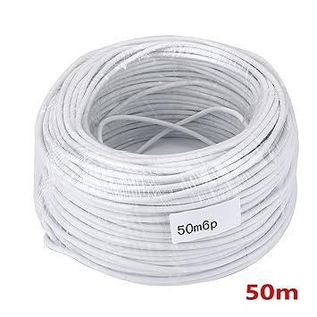 Amazon.com : MOUNTAINONE 50M 2.546P 6 wire cable for video intercom ...