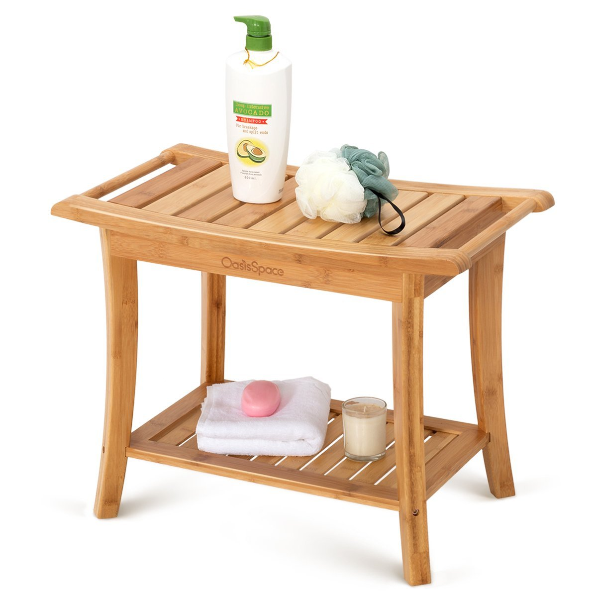 OasisSpace Bamboo Shower Bench, 24' Waterproof Shower Chair with Storage Shelf, Wood Spa Bath Organizer Seat Stool, Perfect for Indoor or Outdoor 24 Waterproof Shower Chair with Storage Shelf