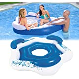 Dongle Inflatable Floating Island, Extra Large Inflatable Chaise Lounge Raft, 3-Person Pool Float with Cup Holders…