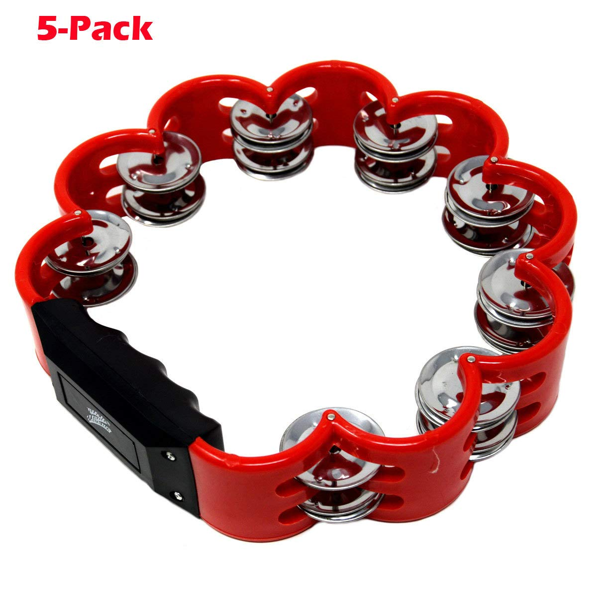5-Pack Musical Tambourine Flower Style Percussion Drum 8 Double Row Metal Jingles Red by Zebra