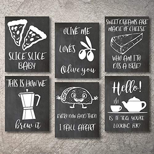 "Wall Decor Kitchen Pictures Modern Farmhouse Eat Signs Decorations Shabby Chic Art Sign Prints for Home or Office Kitchen Coffee Deco Wall Shelves or hanging shelf Vintage Decore Bar (Chalk, 11""x14"")"