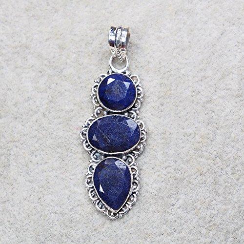 CZgem Nature Sapphire Pendant Healing Lucky Amulet Magic Positive Powers 925 Sterling Silver 2.