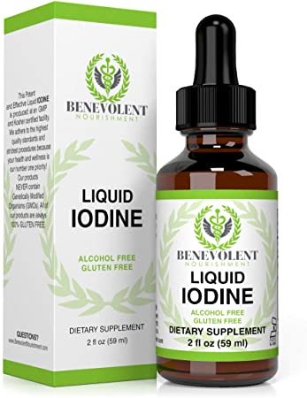 Liquid Iodine Potassium Drops - 1300 Servings | Large 2oz Bottle | Great Taste | 2X Absorption | Just One (1) Drop a Day for Fast, Potent Thyroid Support - Potassium Iodide. Alcohol and Gluten Free.