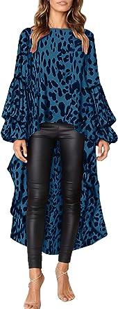Landove Mujer Camisa Asimétrica Leopardo Manga Abullonada con Volante