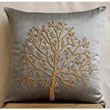 The HomeCentric Designer Silver Grey Euro Shams, 26''x26'' Euro Pillow Covers, Colorful Beaded Tree Euro Pillow Shams, Silk Euro Pillow Shams, Floral Contemporary Euro Shams - Tree Of Faith
