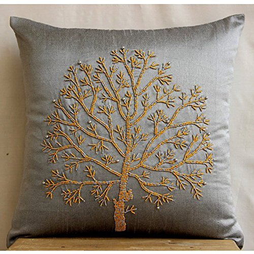 The HomeCentric Luxury Silver Grey Pillows Cover, Colorful Beaded Tree Pillows Cover, 16''x16'' Decorative Pillow Covers, Square Silk Pillow Covers, Floral Contemporary Pillow Cases - Tree Of Faith by The HomeCentric