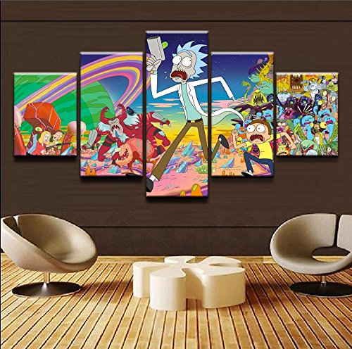 5 Panels Canvas Painting Color Cartoons Painting HD Print on Canvas Wall Art Home Deco For Living Room Size 30x50cmx2,30x70cmx2,30x80cmx1 (A, With Wood Frame)