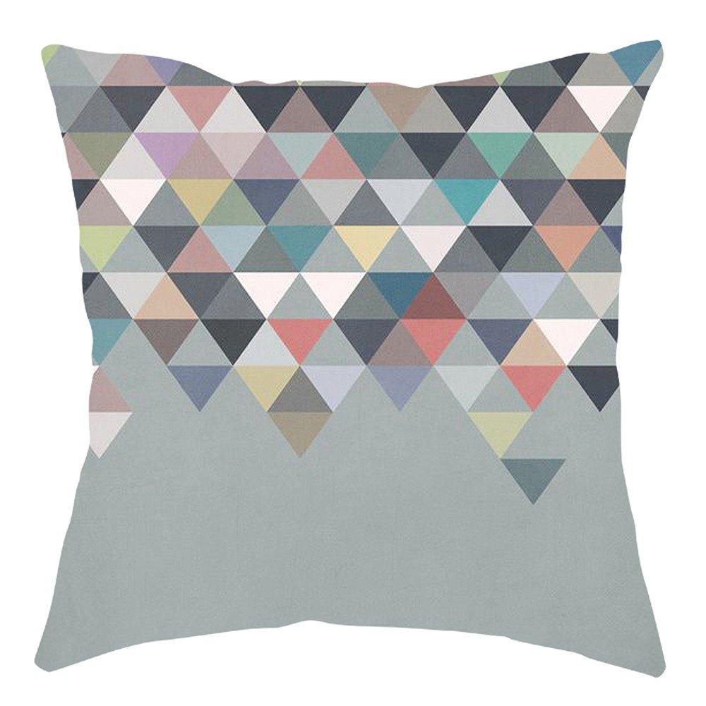 Pgojuni Home Cushion Cover Geometric Throw Pillow Cover Square Accent Cushion Cover Pillow Case for Sofa/Car/Bed 1pc (D)