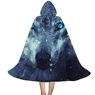 Kids Cape Cloak with Hood Fantasy Wolf Picture Unisex Hooded Cloak Coat Witch Robe Cape Long Halloween Cosplay Party Cloak: Clothing