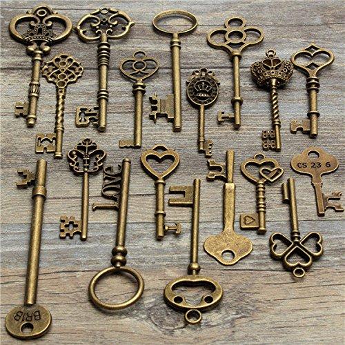 Doradus 18Pcs Antique Vintage Old Look Skeleton Key Lot Pendant Heart Bow Lock Steampunk