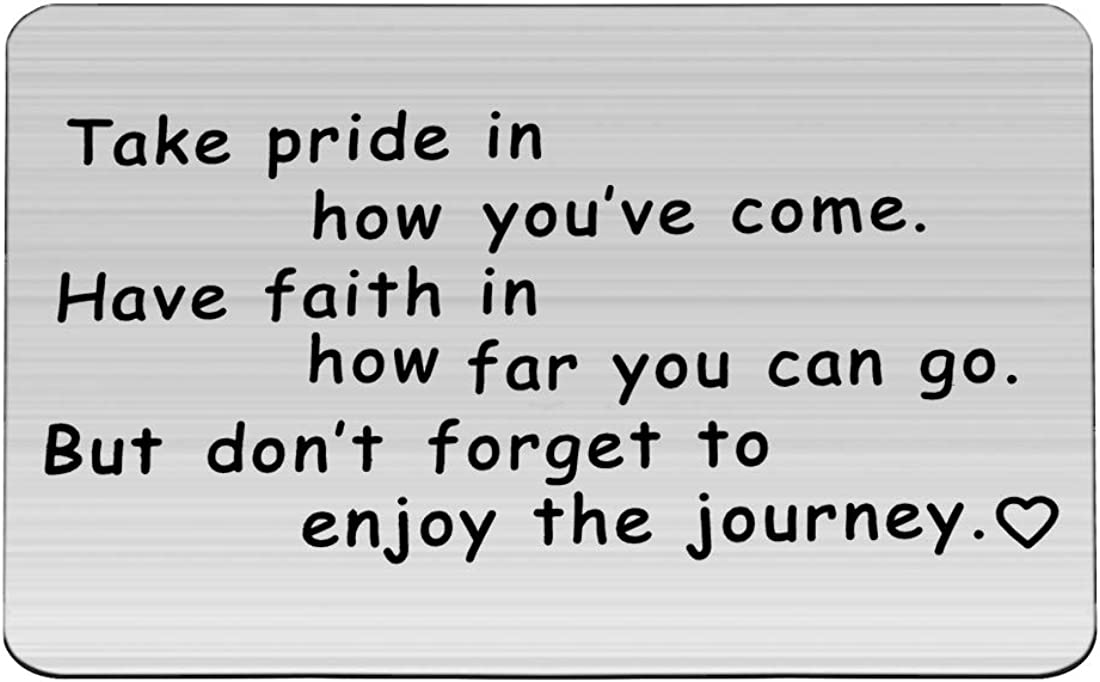 FUSTMW Graduation Gift Take Pride in How Far You Have Come Keychain Inspirational Letters Graduates Gifts for Him/Her