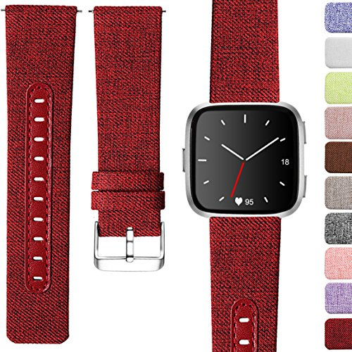 Maledan Bands Compatible with Fitbit Versa, Breathable Genuine Leather Woven Replacement Strap Accessories Strap, Large, Wine Red