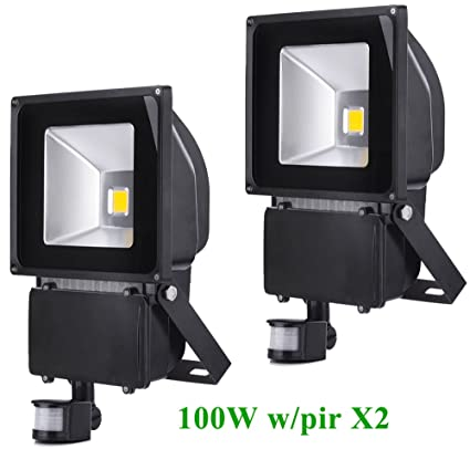 Greenmigo 2pcs Foco Proyector LED 100W Para Exteriores con Sensor de Movimiento,Blanco Cálido 3200K