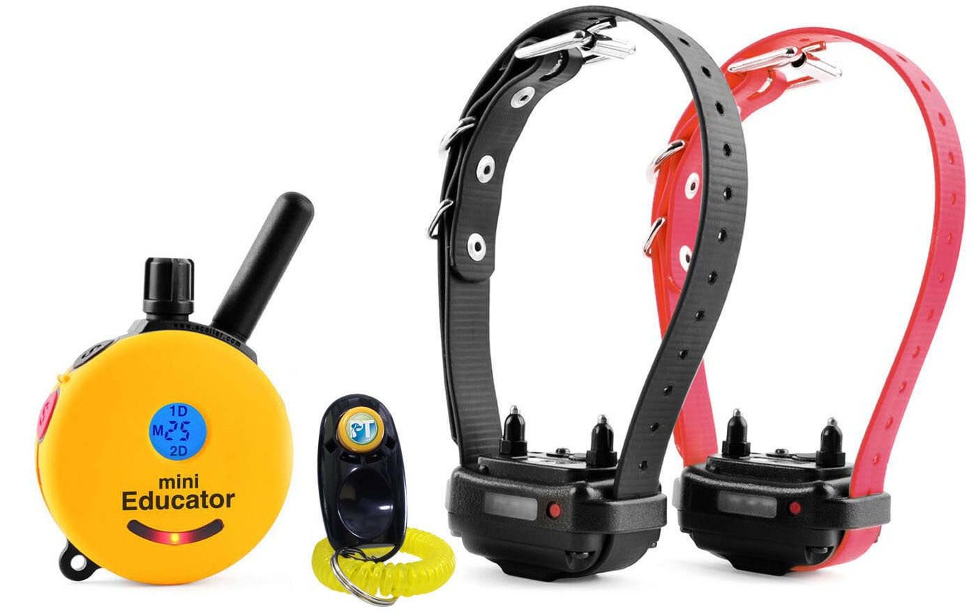 Bundle of 2 Items - E-Collar - ET-302 - Half a Mile Remote Waterproof Two Dog Trainer Mini Educator - Static, Vibration and Sound Stimulation Collar With PetsTEK Dog Training Clicker Training Kit by Mini Educator (Image #1)