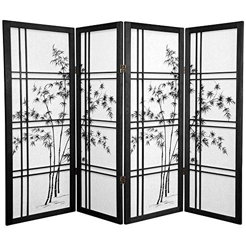 ORIENTAL FURNITURE 4 ft. Tall Bamboo Tree Shoji Screen - Black - 4 Panels ()