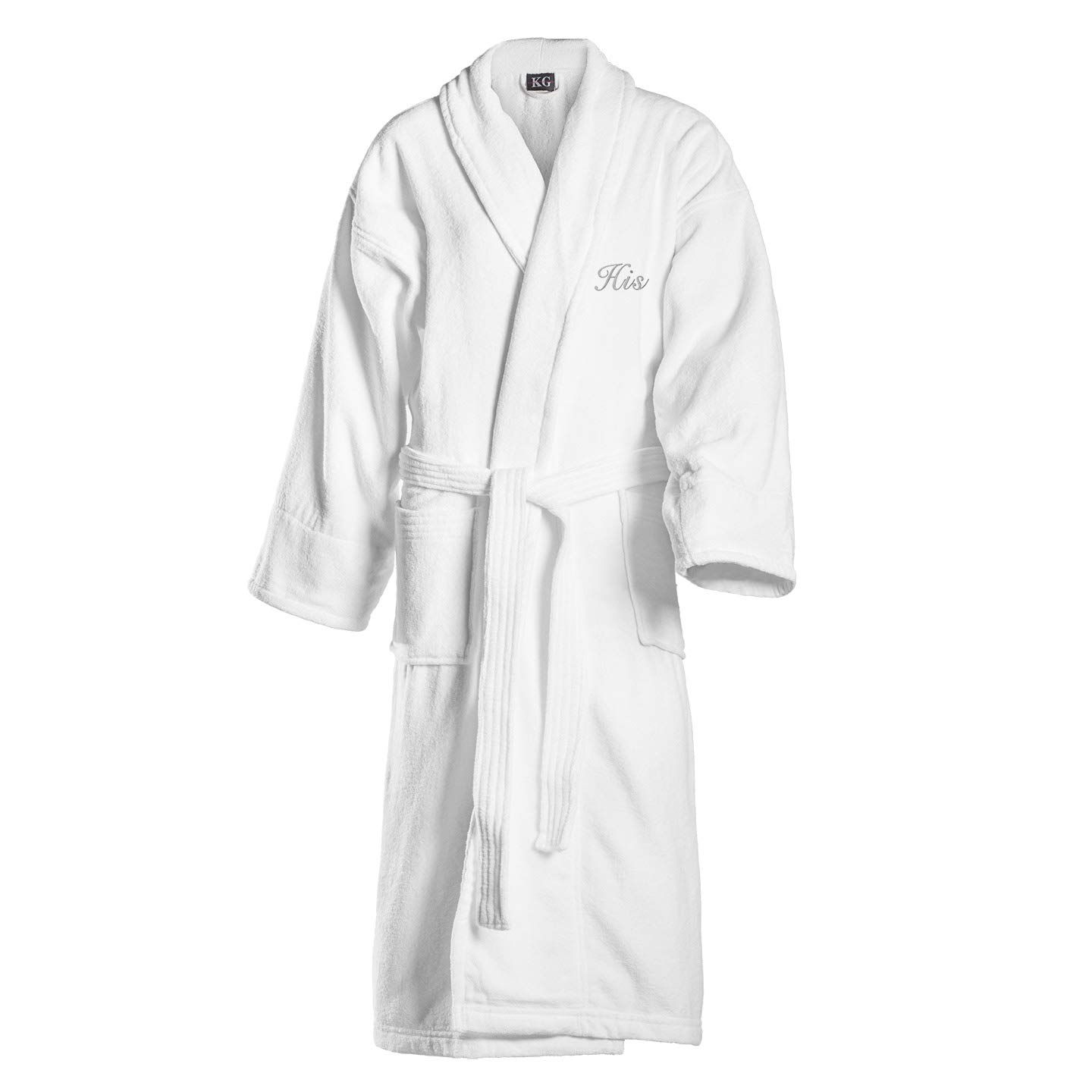 Kaufman - Terry Cloth Bathrobes 100% Cotton - His and Hers Embroidered Velour Shawl Set of Robes with His and Hers Black Towel Set 30''x58'' 4-PK by Ben Kaufman Sales (Image #2)
