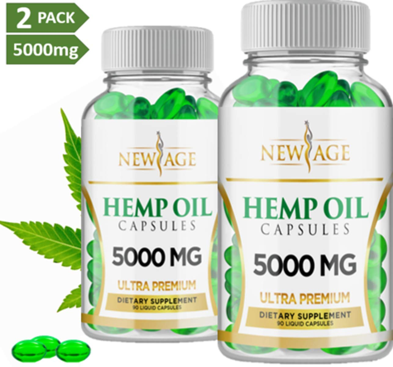 (2 Pack) Hemp Oil Capsules Pills - 5000 MG of Pure Hemp Extract Per Bottle - Pain, Stress & Anxiety Relief - Natural Sleep & Mood Support - Made in The USA - Maximum Value - Rich in Omega 3,6,& 9, by New Age