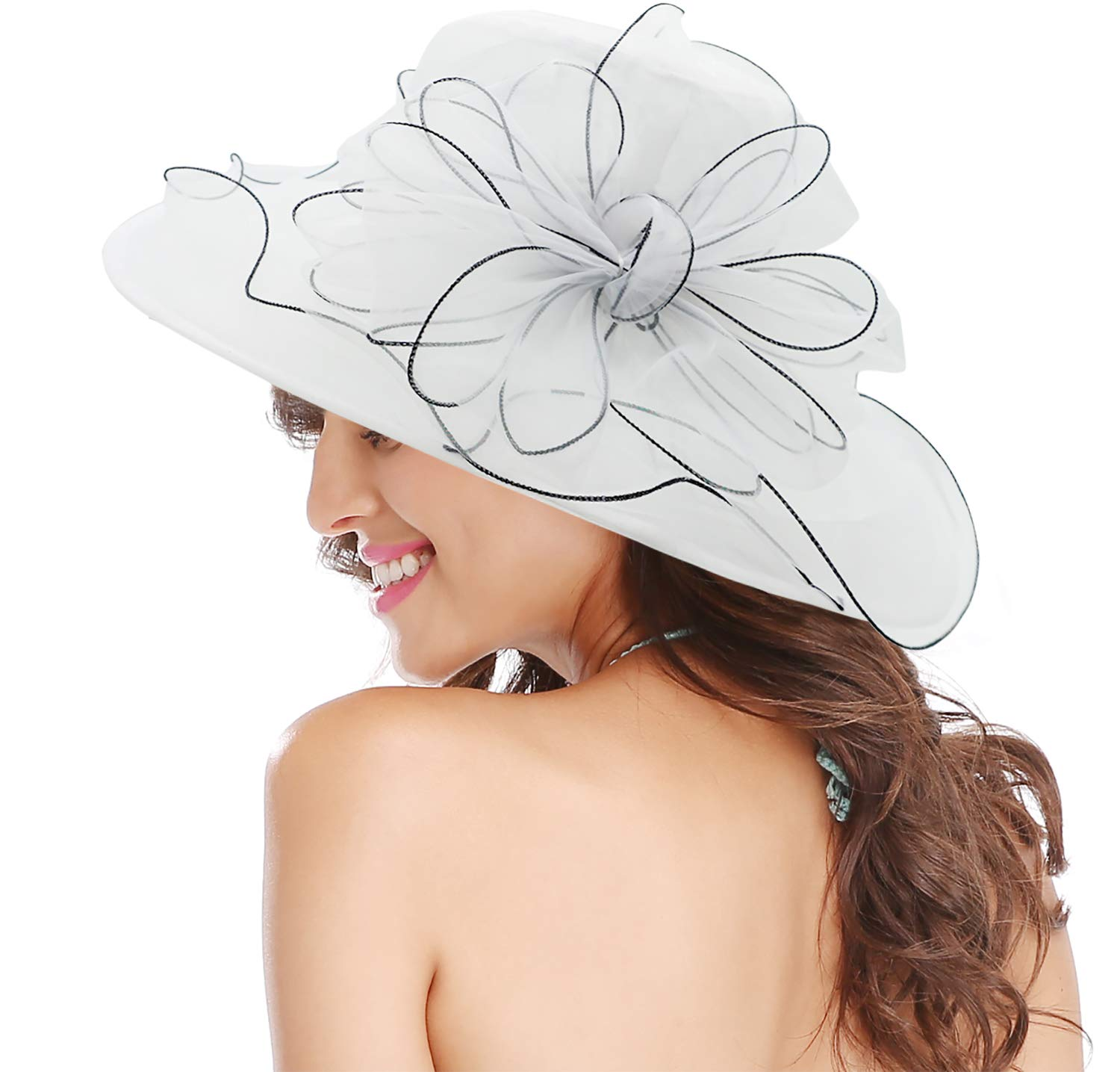 Bellady Women's Church Derby Dress Fascinator Bridal Cap Tea Party Wedding Hat,White Church Hat