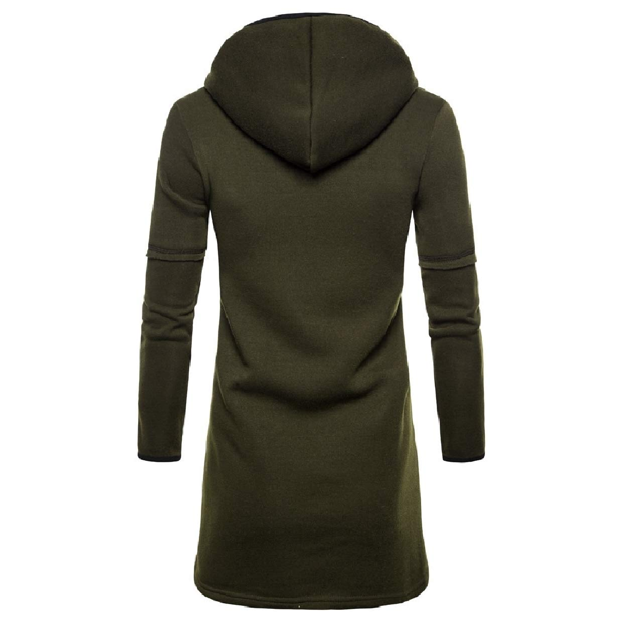 Abetteric Mens Slim Fitting Contrast Hood Open-Front with Pockets Cardigan