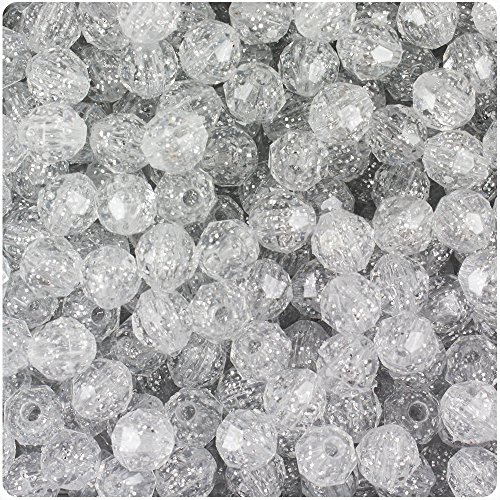 BEADTIN Silver Sparkle 8mm Faceted Round Craft Beads (8mm Round Faceted Acrylic Beads)