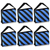 Neewer 6 Pack Black/Blue Sand Bag Photography Studio Video Stage Film Saddlebag for Light Stands Boom Arms Tripods