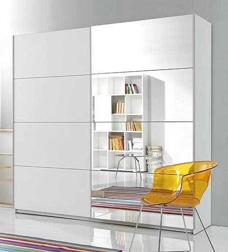 trend-moebel SCHWEBETÜRENSCHRANK 2-TRG. B 200 cm Spiegel Schlafzimmer Weiss  NEU