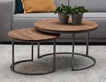 Couchtisch Wohnzimmertisch Set Rund Metallgestell Mangoholz Beistelltisch ( Set 2 Stück) (Stahl)