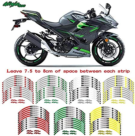 Hot sell Motorcycle front/&Rear Edge Outer Rim Sticker 17inch Wheel Decals Reflective waterproof stickers For Kawasaki ninja 400