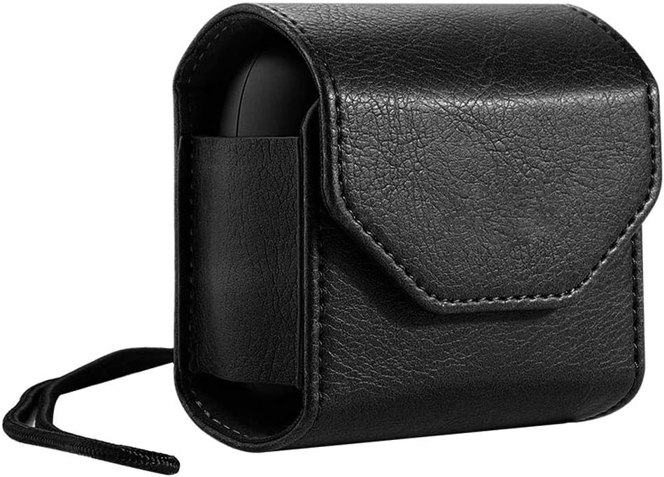Godya Portable Leather Carrying Case for Powerbeats Pro 2019 Shockproof Anti-fall with Wrist Strap