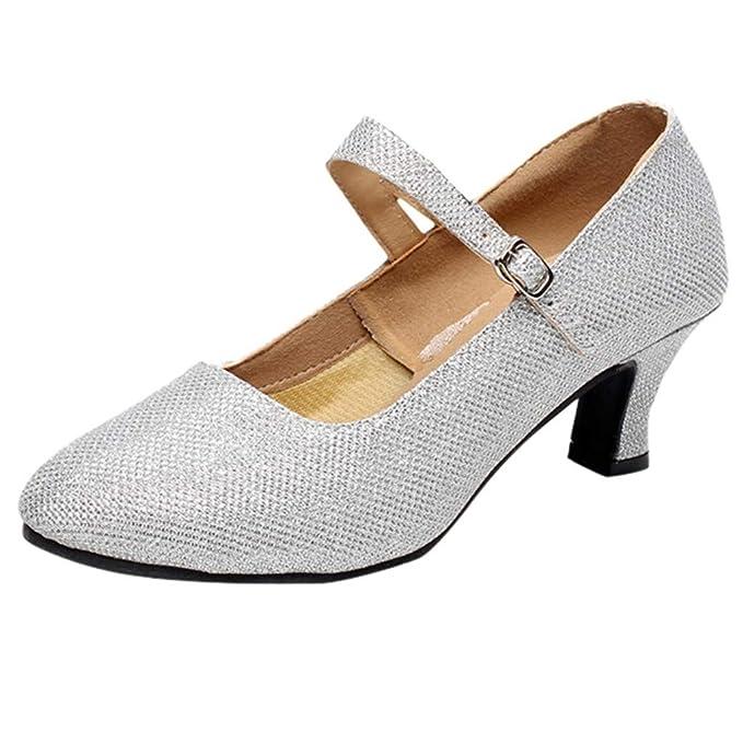 Darringls_Sandalias de Primavera Verano Mujer,Zapatos de Baile de Salsa de Tango Zapatos de Baile Latino para niña Zapatos de satén para medianos Talones ...