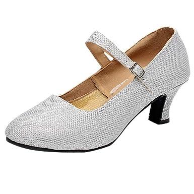 e80c6e1a567264 Chaussure de Danse Sociale, Manadlian Chaussures à Haut Talon de 5cm  Sandales Été Mariage Soirée Fête Souliers Pointus Chaussons: Amazon.fr:  Vêtements et ...